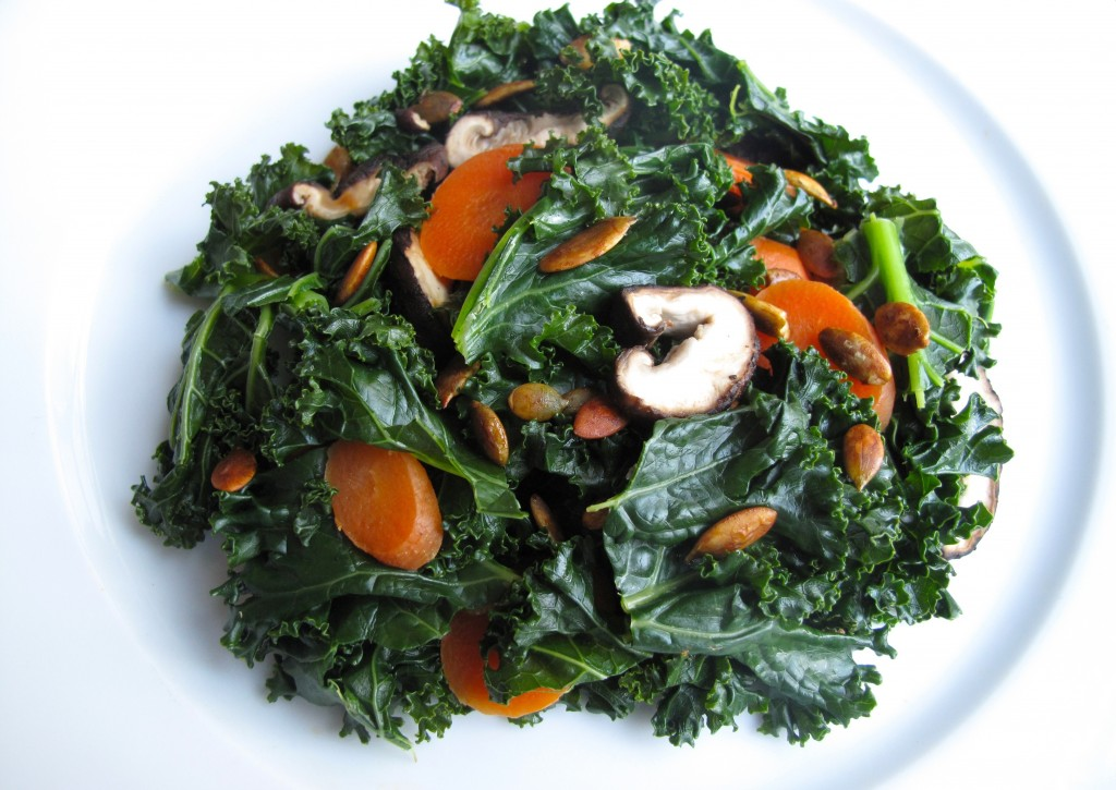 Steamed Kale Carrots Shiitake Mushrooms 1024x725 Steamed Kale, Carrots, and Shiitake Mushrooms with Toasted Tamari Pumpkin Seeds