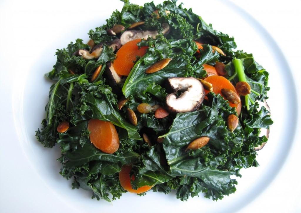Steamed Kale Carrots Shiitake Mushrooms 1024x725 Steamed Kale, Carrots, and Shiitake Mushrooms with Toasted Tamari Pumpkin Seeds