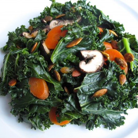 Steamed-Kale-Carrots-Shiitake-Mushrooms