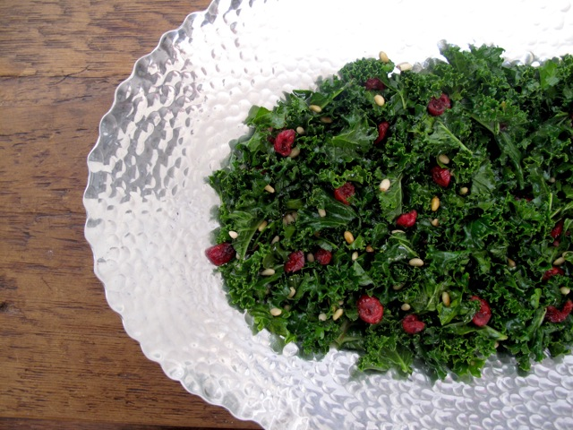 Kale Salad2 Basil, Goats Curd, and Pomegranate Salad