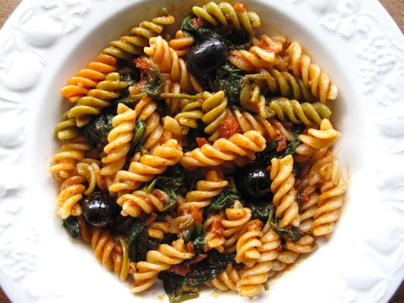 Fusilli with Spicy Tomato Sauce Fusilli in a Spicy Tomato Sauce with Spinach and Olives
